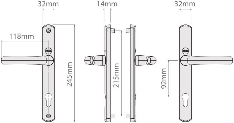 Dimensions of the Yale Superior Lever/Lever 92pz Long Backplate Door Handle