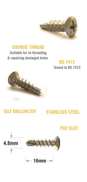 uPVC window friction hinge repair screws 4.8 x 16mm