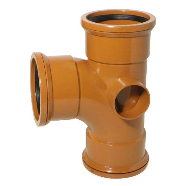 90° Junction (Triple Socket with Twin Boss) for 110mm Plastic PVC-u Underground Drainage System Fittings