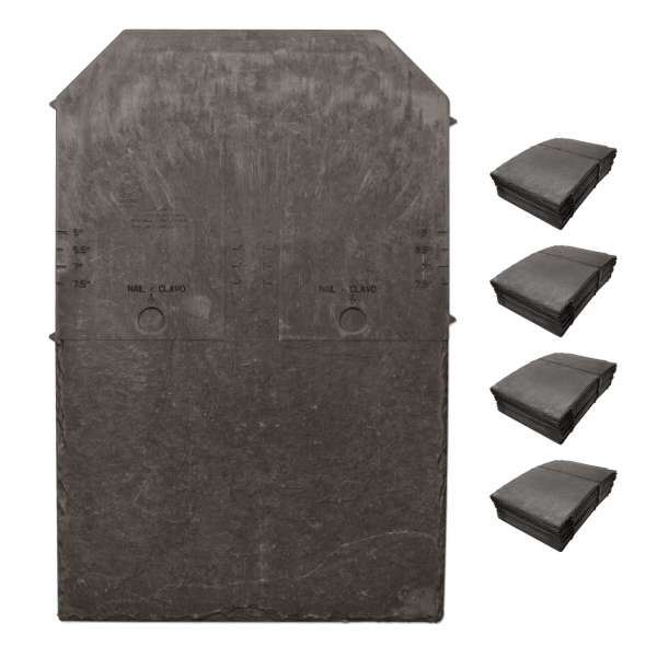 100 x Steel Grey Tapco Slate Synthetic Roof Tiles Plastic Composite Roofing (Pewter Grey)