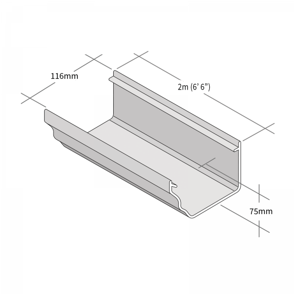 Dimensions of 2m Long Marley Classic Ogee Profile PVCu Gutter for Ultraframe Conservatories and Homes