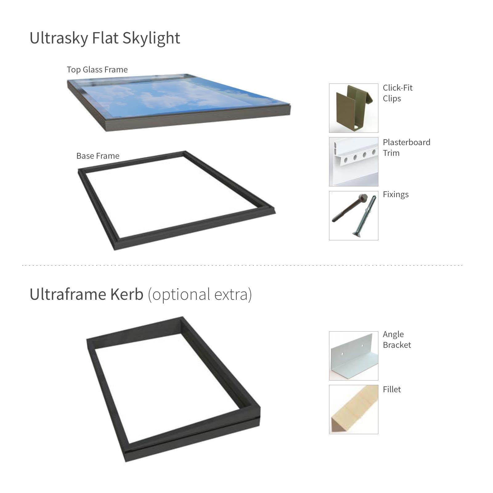 Ultraframe Ultrasky Flat Skylight Black 600mm 600mm