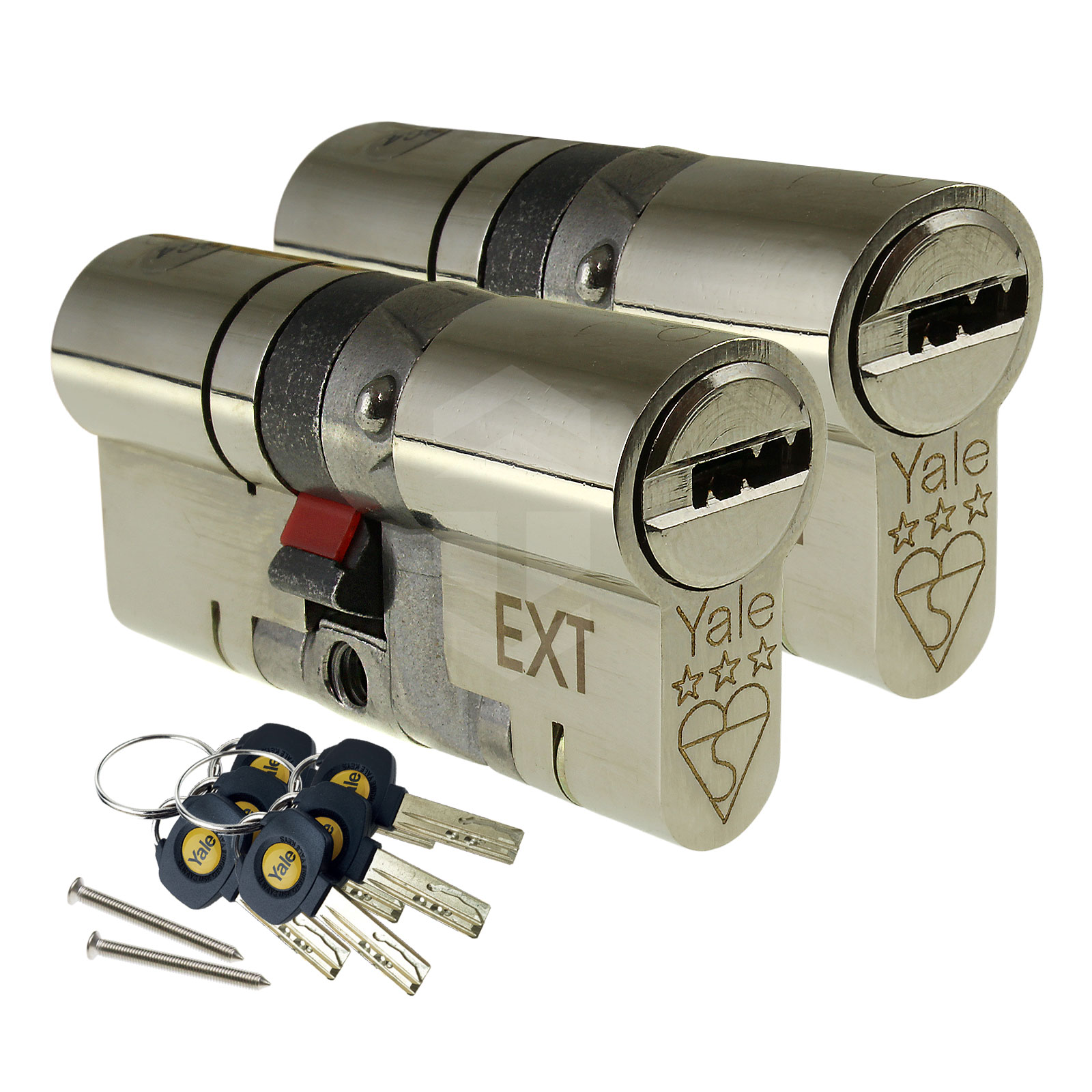 YALE Platinum 3 Star Euro Cyliner Barrels X 2 6 Keys 55//40