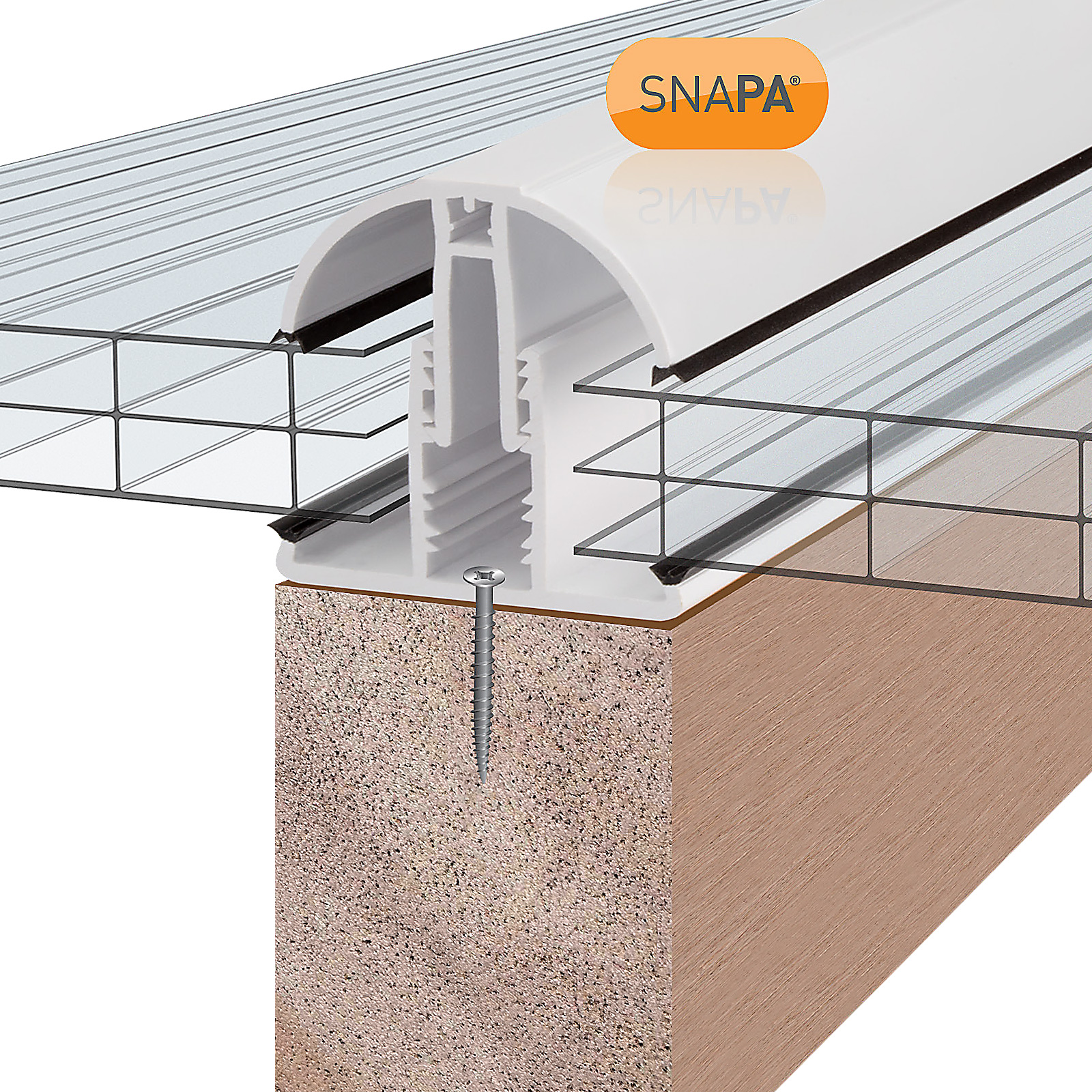 2m White SNAPA Snap-Fix uPVC Plastic Lean-to Gable Starter Glazing Bar for Timber Rafters