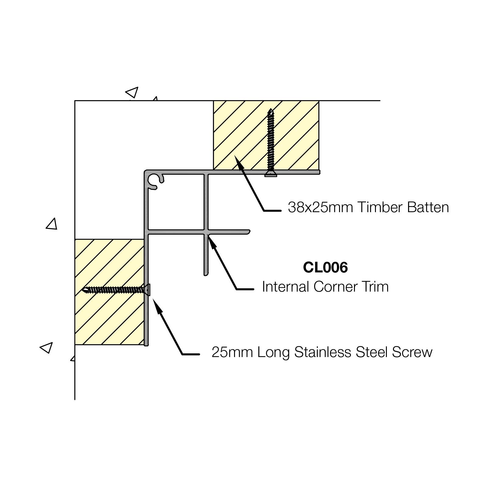 5m Aluminium Internal Closer Trim For Coastline Shiplap
