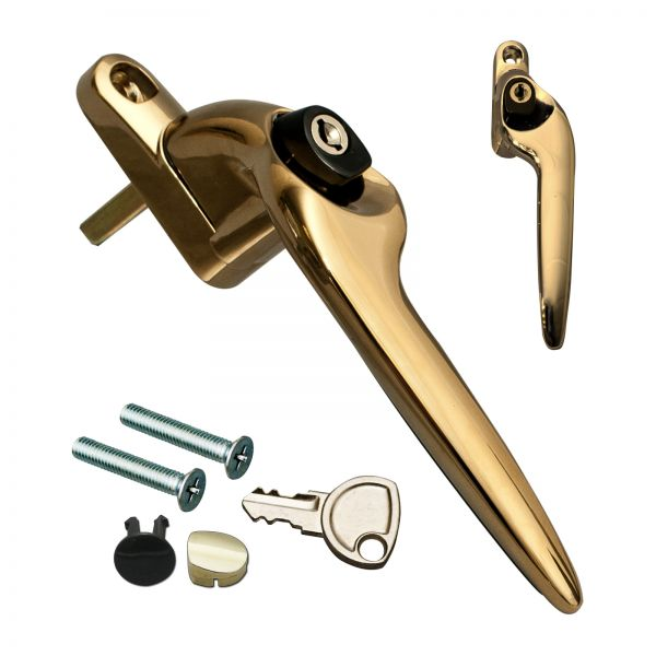 Gold Trojan Sparta 2 Cranked Window Handle for Espag uPVC Windows