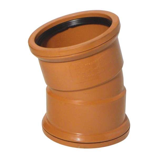 15° Bend (Double Socket) for 110mm PVC-u Plastic Terracotta Underground Drainage